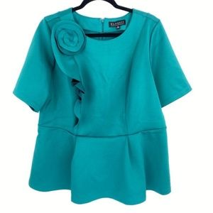 Eloquii Women's Peplum Green Top Plus Size 16